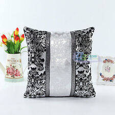 Home Car Black &White Shining Sequins Leather Throw Pillow Case Cushion Cover