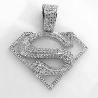 14K White Gold Finish Round Cut 1.50 Ct Diamond Super Man Logo Pendant Big Charm