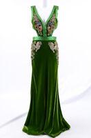 Alexander McQueen leaf green 6 S 42 embellish cutout maxi gown dress NEW $14900