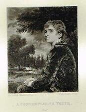 "Mezzotint Eng. Proof - ""A CONTEMPLATIVE YOUTH"" - by Sir Joshua Reynolds - c1820"