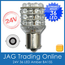 24V 36-LED BA15S 1156 AMBER INDICATOR AUTO LIGHT GLOBE - TRUCK/BUS/TRAILER/4x4