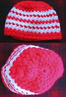 HAND KNIT Vtg Womens BEANIE HIPPIE CAP RED/WHITE ACRYLIC YARN