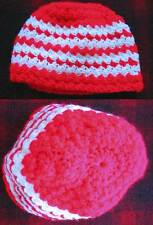HAND KNIT Vtg Womens BEANIE HIPPIE CAP RED/WHITE ACRYLIC YARN