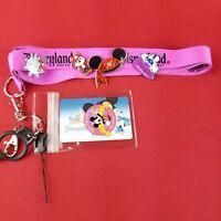 Disney Disneyland Purple Lanyard with Pirate Mickey Ears Chip Castle Fauna Pins