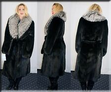 New Ranch Mink Fur Coat Silver Fox Fur Collar Size Large 10 12 L Efurs4less