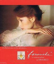 "PUBLICITE ADVERTISING 124 1977 NINA RICCI ""Farouche"" par D.Hamilton"