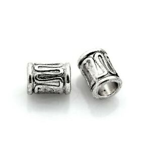 Antique Silver Tibetan Zinc Beads Tube Spacer 6 x 8mm Pack Of 30