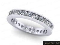 0.80Ct Round Cut Diamond Milgrain Wedding Eternity Band Ring 950 Platinum G SI1