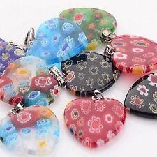 5 X Pretty Millefiori Lampwork Glass Heart Mixed Colours 22mm Pendant Charms B4