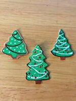 Christmas Trees W/A Touch of Glitter - 3 - Iron-On Fabric Appliques...SMALL.