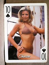 2004 Hooters Blonde Calendar Girl Chevon 10 Clubs Playing Card Sexy Brown Bikini