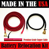 MADE IN USA Top Post 12 FT RED 3 FT BLACK 2 AWG Cable Battery Relocation Kit