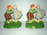 """ANTIQUE """"HUBLEY"""" Pair Cast Iron Dutch Boy and Girl Kissing Doorstops/Bookends"""