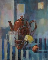 the morning tea still life by Sergey Avdeev RUSSIAN Original oil Painting