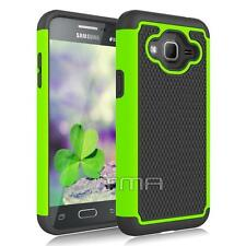 Samsung Galaxy J3 J3(6) Rugged Rubber Dual Layer Impact Hybrid Hard Case - Green