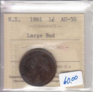 1861 Nova Scotia One Cent ICCS Graded AU-50 Trace - Large Bud - ON 853