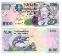 BAHAMAS UNC $100 Dollars CRISP Series Banknote (2009) P-76 Queen Elizabeth C pfx