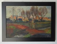 ANTIQUE WILLY BILLE 1920's IMPRESSIONIST LANDSCAPE CITYSCAPE TOWNSCAPE PAINTING