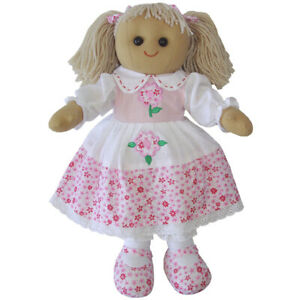 Personalised Powell Craft Pink Floral Dress Rag Doll - Fabric Doll, Child's Gift