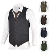 VOBOOM Mens Wool Blend Suit Waistcoat Vest Gilet Slim Fit Business Leisure Vests