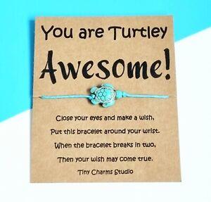 You Are Turtley Awesome Turtle Wish Bracelet Friendship Gift Keepsake Jewellery