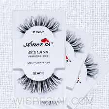 #WSP 3Pack Amor Us 100% Human Hair False Eyelashes Compare Red Cherry