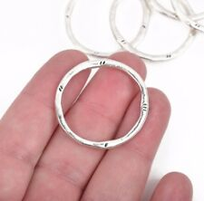 5 Silver Hammered Rings, Circle Washer Connector Links Charms, 32mm, chs2857