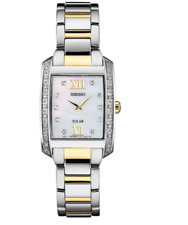 Seiko Women's Solar Square Gold Silver Stainless MOP 28 Diamonds Watch SUP403