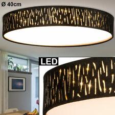 Luxus LED Decken Leuchte Wohn Ess Zimmer Stoff Schirm Muster Cappuccino Lampe