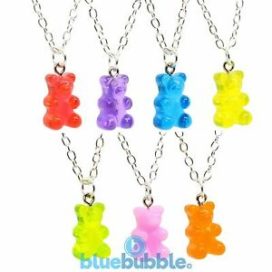 Pink Teddy Bear Glitter Pendant Gummy Bear Tibetan Silver Necklace Xmas Gift