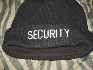SECURITY knit hat, baseball hat and fleece gloves. Gear up for winter.