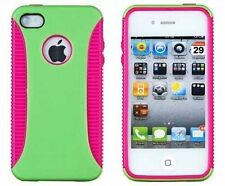 Hybrid Ribbed Case for iPhone 4 / 4S - Green/Pink