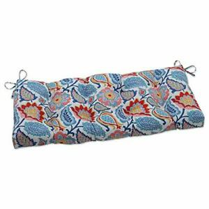 Pillow Perfect Outdoor/Indoor Moroccan Flowers Slate Blue Tufted Bench/Swing ...