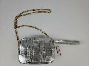 NWT VICTORIA'S SECRET Small Silver Crossbody Purse Bag Zippered Gold Chain $70