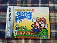 Super Mario Advance 4 Super Mario Bros 3 - Authentic - Game Boy Advance - Manual