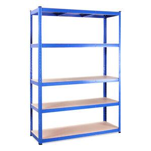 Single Blue Metal 5 Tier Garage Shelving Unit Racking Storage 180x120x45cm