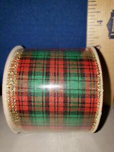 Gift Ribbon Christmas Tartan with Gold Trim 6 Yards 4393 313