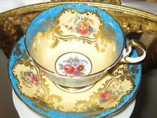 AYNSLEY TURQUOISE ROSE FLORAL HEAVY GOLD GILT Tea Cup and Saucer c.1930s