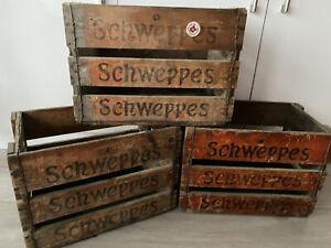 3 X Original Vintage Schweppes Wooden Crates Boxes Advertising Memorabilia