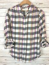 Isabella Sinclair XS Anthropologie Plaid Lace Crochet Sheer Roll Tab Blouse z3