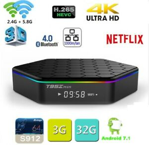 T95Z Plus Octa Core 4K HD TV Box Dual WiFi 3+32G 3D Android7.1 Home Media Player