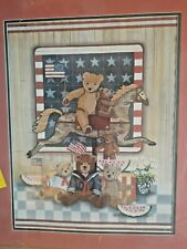 All American Bears Counted Cross Stitch Kit USA Patriotic teddy flags preprinted