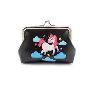 Unicorn Black Purse Clip Purse Girls Coin Money Bag Gift Magical Unicorns UK
