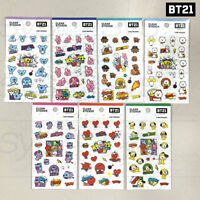 BTS BT21 Official Authentic Goods Clear Sticker Ver2 7SET by Kumhong Fancy