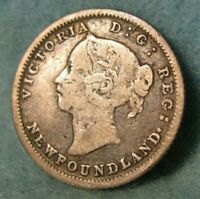 1882-H Newfoundland Canada Silver 5 Cents KM# 2 Canadian Coin #4385
