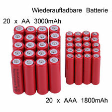 20x AA 3000mAh Akku + 20x AAA 1800mAh NiMH Akku 1,2V Wiederaufladbare Batterie !