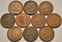 Lot (10) Flying Eagle, Indian Head Cents 1858 1866 1867 1873 1874 75 76 Penny 1C