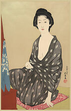Japanese Art Print: Woman in a Summer Garment, H.Goyo- Reproduction