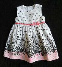 Baby clothes GIRL 6-9m pink, white, black cotton dress sleeveless summer