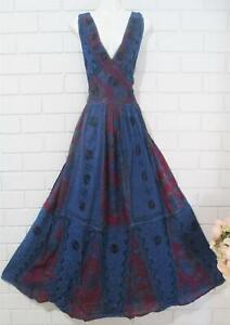 MEDIEVAL BOHO PATCHWORK CORSET DRESS BLUE & RED FITS 14- 18   88-116 CMS